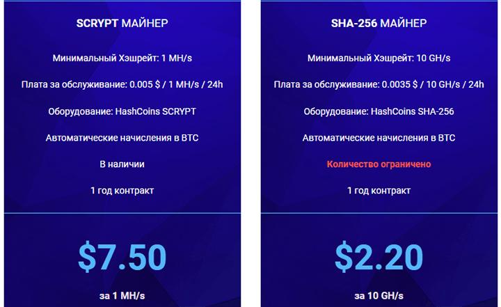 тарифы hashflare